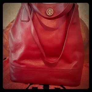Tory Burch Dark Red Pebbled Leather Tote